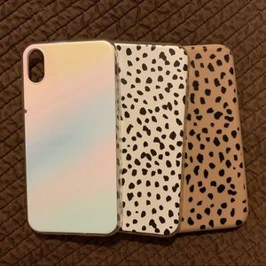 Three iPhone XR phone cases with different designs